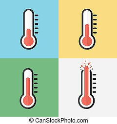 Broken thermometer Overheat Flat design