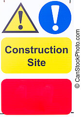 Sign Construction Site with blank space - Warning sign...