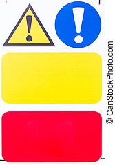 Warning Sign with blank space - Warning sign attached to...