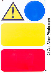 Warning Signs with blank space - Warning sign attached to...