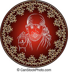 Calligraphic Shirdi Sai Baba Vector Art