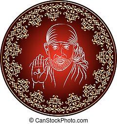 Calligraphic Shirdi Sai Baba Vector Art