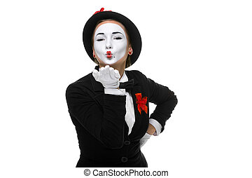 Portrait of the mime - Portrait of the woman as mime sending...