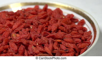 Dried Goji Berries in Shell - Front of the camera rotates...