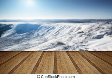 Stunning blue sky mountain landscape in Winter with snow covered