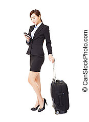 business woman traveling with suitcase isolated
