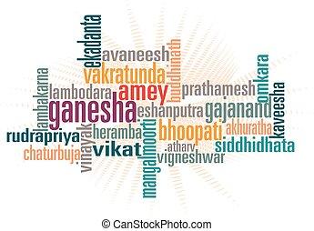 Ganesha Word Art Vector Art