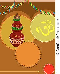Divine Mangal Kalash With Coconut Vector Art