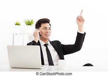 談話, 商人, 年輕, 辦公室, 電話