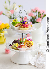 cakes for afternoon tea - Assorted cakes and pastries on a...