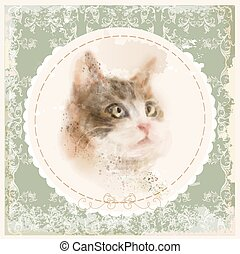 vintage hand drawn watercolor portrait of the cat