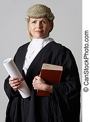 Portrait Of Female Lawyer Holding Brief And Book