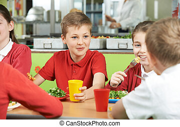 Group Of Pupils Sitting At Table In School Cafeteria Eating...