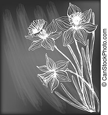 Daffodils - Hand - drawn illustration. Bouquet of three...