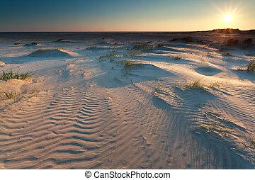 sunrise over sand dunes on coast