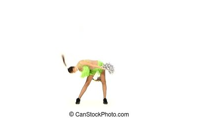 Girl in green costumes with pompons make element acrobatic -...