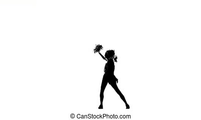Cheerleader. Isolated On White Background. Silhoutte -...