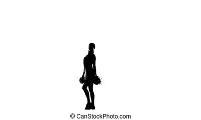 Young cheerleader with pom-poms. Silhoutte - Young...