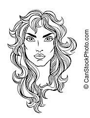 Vector portrait of girl