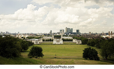 Greenwich panorama - London Greenwich district under white...