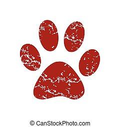 Red grunge animal logo
