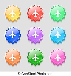Airplane, Plane, Travel, Flight icon sign. symbol on nine wavy colourful buttons. Vector