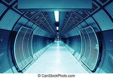Cylinder tunnel - Cylindric tunnel for pedestrians, blue...