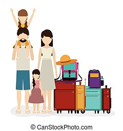 Family travel design - Family travel desing over white,...
