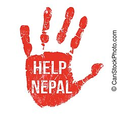 Help Nepal message - Grunge ink hand with message Help Nepal...