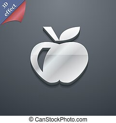 Apple icon symbol. 3D style. Trendy, modern design with space for your text Vector