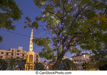 Christmas Lights in Malaga - Plaza de Merced - Market Square...