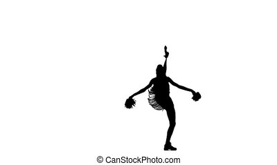 Young cheerleader with pom-poms smiling at camera, acrobatic...