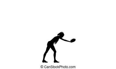 Cheerleader On White Background Silhoutte, slow motion -...