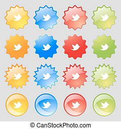Social media, messages twitter retweet icon sign. Big set of 16 colorful modern buttons for your design. Vector