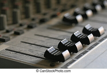 Audio Mixer - Macro shot of a proffesional audio mixer
