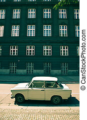 Small car from comunist era on the street.