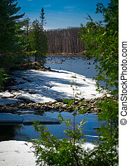 Outdoor Canadian Wilderness Lake in Spring - Canadian...