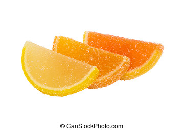 Three slices of marmalade lying one on another, on a white...