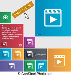 Play video icon sign Metro style buttons Modern interface...