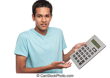 Teenage Boy with Big Calculator - Ethnic young man with...
