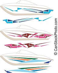 Boat Graphics, Stripe : Vinyl Ready Vector Art