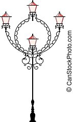 Wrought Iron Street Lamp Post Vector Art