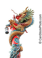 Chinese dragon wrapped around red pole on white