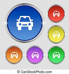 Auto icon sign. Round symbol on bright colourful buttons. Vector
