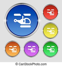 Helicopter icon sign. Round symbol on bright colourful buttons. Vector