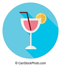 Flat Cocktail with Orange Slice and Tubule Circle Icon....