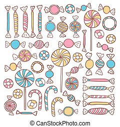 Doodle Candies Sweets Hand Drawn Objects Set Vector Food...