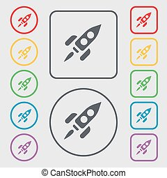 Rocket icon sign. symbol on the Round and square buttons with frame. Vector