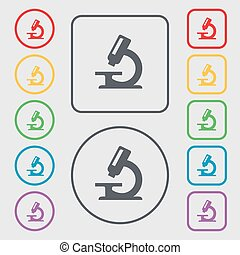 microscope icon sign. symbol on the Round and square buttons with frame. Vector