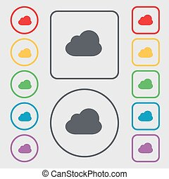 Cloud icon sign. symbol on the Round and square buttons with frame. Vector
